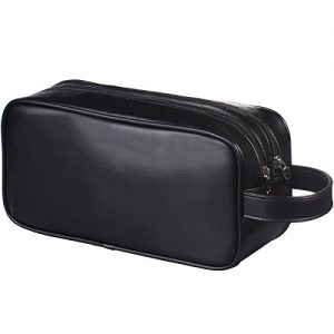 HappyDavid Soft PU Leather Zipped Travel Toiletry Bag Mens Ladies Supply Toiletry Bag Case(Black)